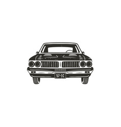 Vintage hand drawn muscle car retro car symbol vector