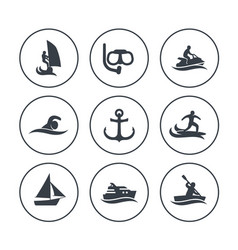 water sports icons surfing sailing diving vector image
