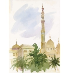 Watercolor islamic mosque painting vector