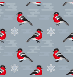 winter seamless pattern include bullfinc vector image