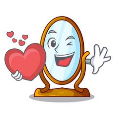 With heart cartoon big antique mirror in frame vector