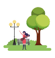 woman with guitar in the park vector image