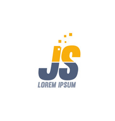 Yellow blue js j s alphabet letter logo company vector