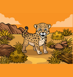 Young cheetah in the savannah vector