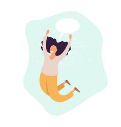 Young joyful woman cartoon characters jumping vector