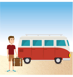 young man in the beach with suitcase and car vector image