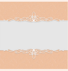 beautiful frame in peach color for wedding vector image
