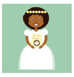 girl in white communion dress vector image vector image
