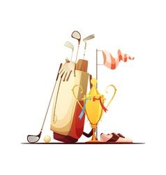 Golf Bag And Trophy Retro Icon vector image vector image