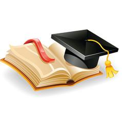 graduation cap and open vector image