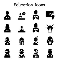 education learning icon set vector image vector image