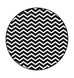 silhouette circular figure with pattern zig zag vector image