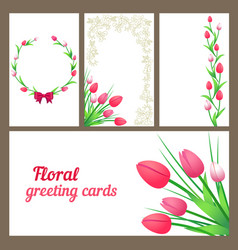 tulips greeting cards vector image