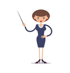 women school teacher with a pointer in vector image