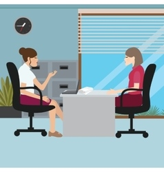 business woman talk with her boss interview job vector image vector image