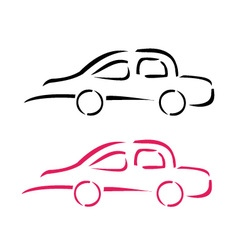 Car with abstract lines logo design concept vector image