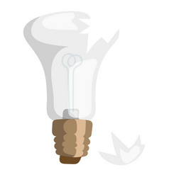 cartoon broken bulb lamp light vector image vector image