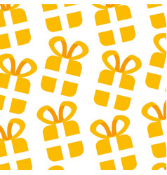 christmas gift box wrapped ribbon seamless pattern vector image