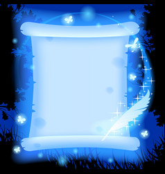 fairy parchment and magic pen in blue light vector image