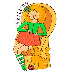 Girl knits vector