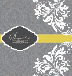 gray invitation with white floral elements vector image vector image