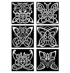 Tribal tattoos with celtic ornamental butterflies vector image vector image