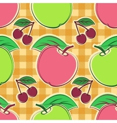 Apples and cherry vector