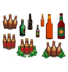 Cartoon glass beer bottles with blank labels vector image vector image