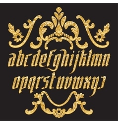 Glitter gold Gothic Font vector image