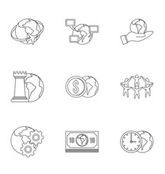 Global comunity icon set outline style vector