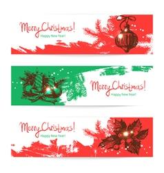 Hand drawn set of Christmas banners vector image