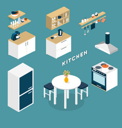 isometric kitchen interior objects - 3D vector image vector image