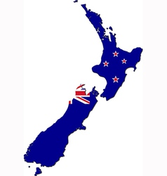 Map of New Zealand with national flag vector image vector image