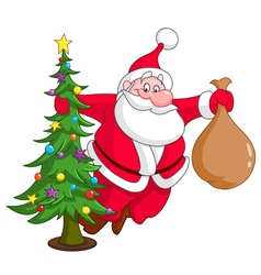 santa with christmas tree vector image vector image