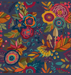 seamless pattern with autumn nature vector image vector image