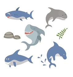 Set funny sharks vector image vector image