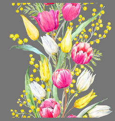 watercolor mimosa and tulip pattern vector image vector image