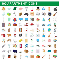 100 apartment icons set cartoon style vector
