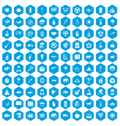 100 elephant icons set blue vector