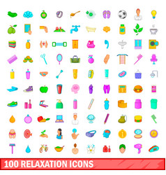 100 relaxation icons set cartoon style vector