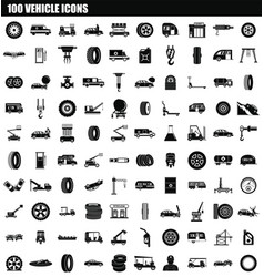 100 vehicle icon set simple style vector image