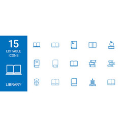 15 library icons vector