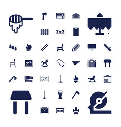 37 wood icons vector
