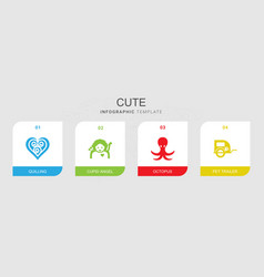 4 cute filled icons set isolated on infographic vector