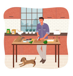Bachelor cutting vegetables man in kitchen cooking vector
