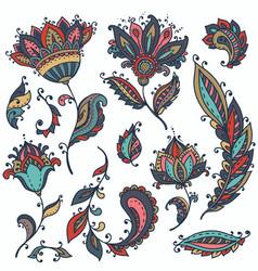 Big set of colorful henna floral elements vector