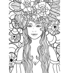 black and white fantasy art with fairy girl vector image