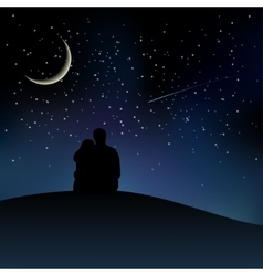 Black couple silhouettes sitting on the hill and vector image