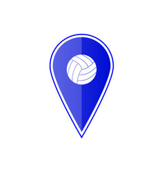 blue map pointer with volleyball ball vector image