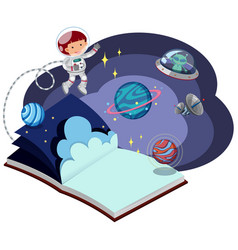 Book with astronaut in space vector